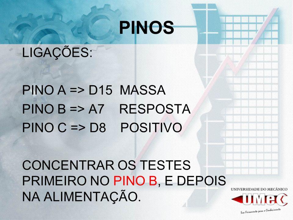 PINOS LIGAÇÕES: PINO A => D15 MASSA PINO B => A7 RESPOSTA PINO C => D8 POSITIVO CONCENTRAR OS TESTES PRIMEIRO NO PINO B, E DEPOIS NA ALIMENTAÇÃO.