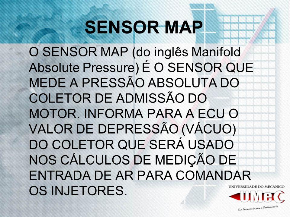 SENSOR MAP O SENSOR MAP (do inglês Manifold Absolute Pressure) É O SENSOR QUE MEDE A PRESSÃO ABSOLUTA DO COLETOR DE ADMISSÃO DO MOTOR. INFORMA PARA A