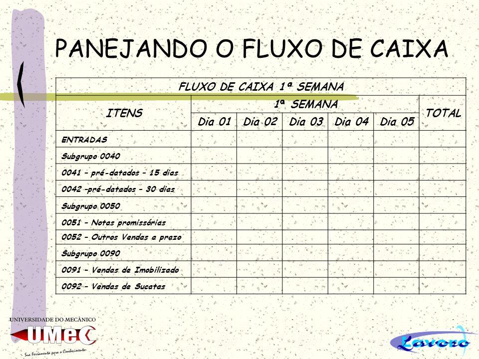 PANEJANDO O FLUXO DE CAIXA FLUXO DE CAIXA 1ª SEMANA ITENS 1ª SEMANA TOTAL Dia 01Dia 02Dia 03Dia 04Dia 05 ENTRADAS Subgrupo 0040 0041 – pré-datados – 1