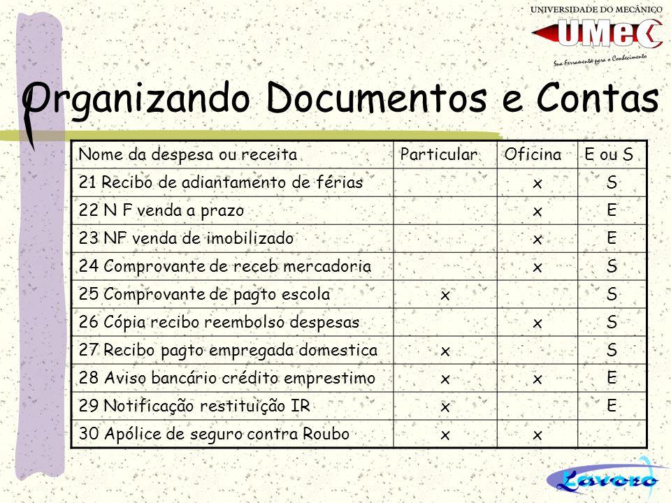 Organizando Documentos e Contas Nome da despesa ou receitaParticularOficinaE ou S 21 Recibo de adiantamento de fériasxS 22 N F venda a prazoxE 23 NF v