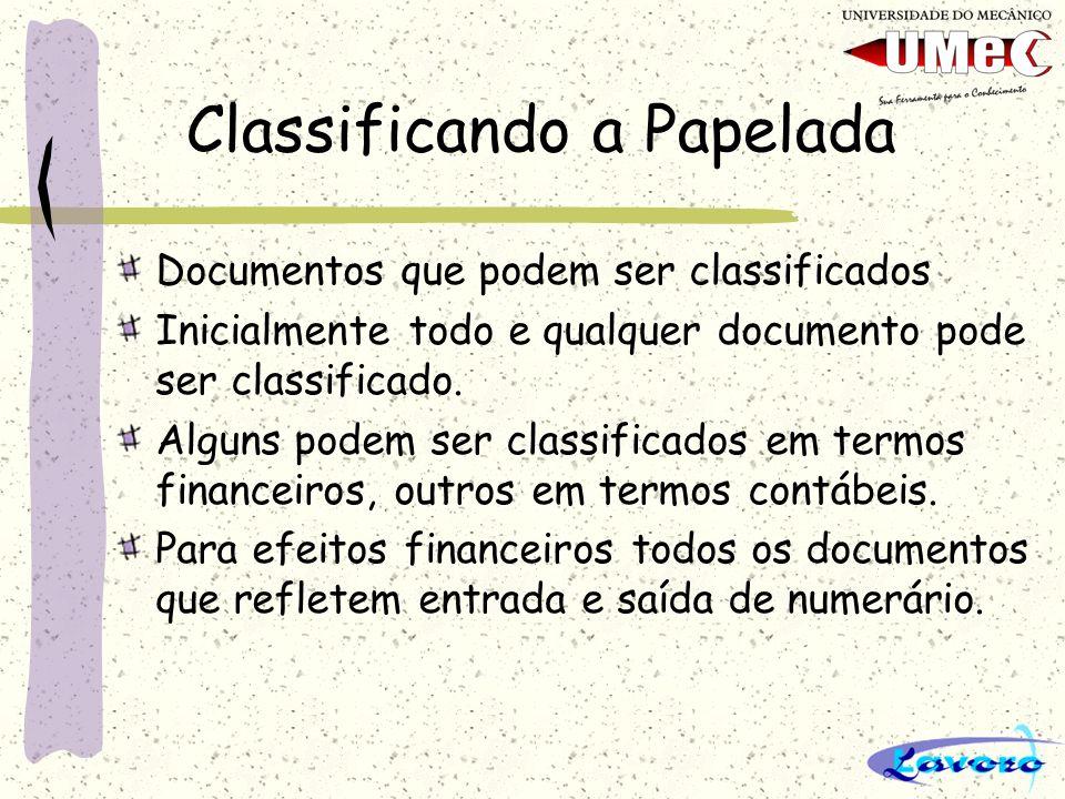Classificando a Papelada Documentos que podem ser classificados Inicialmente todo e qualquer documento pode ser classificado. Alguns podem ser classif