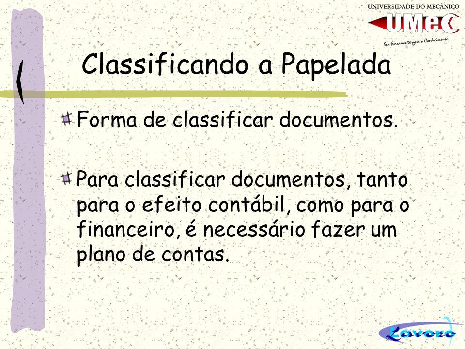 Classificando a Papelada Forma de classificar documentos. Para classificar documentos, tanto para o efeito contábil, como para o financeiro, é necessá