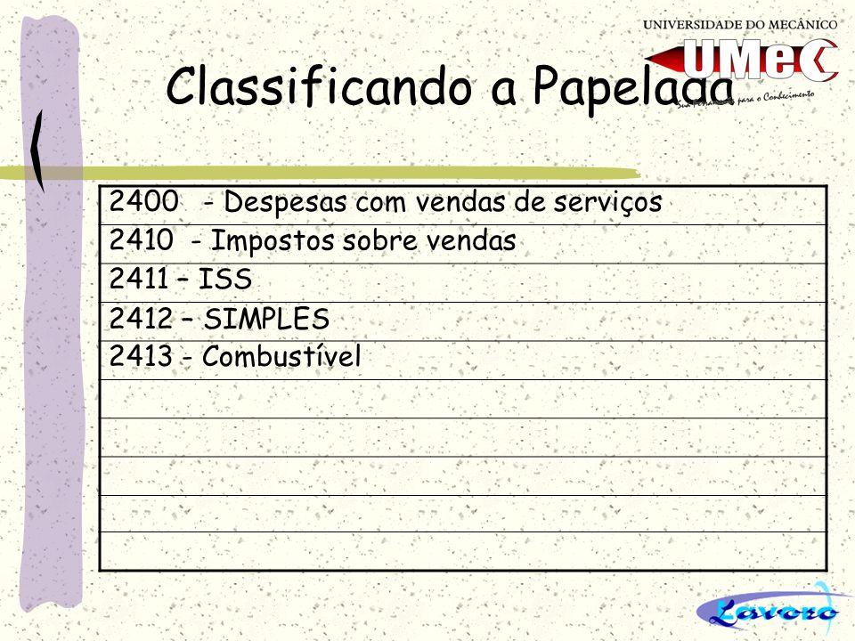 Classificando a Papelada 2500 - Despesas Gerais 2510 - Pessoal 2511 – Salários 2512 – 13º Salário 2513 – Férias com 1/3 2514 – INSS 2515 – FGTS 2516 – Vale Transporte 2517 – Pró-Labore