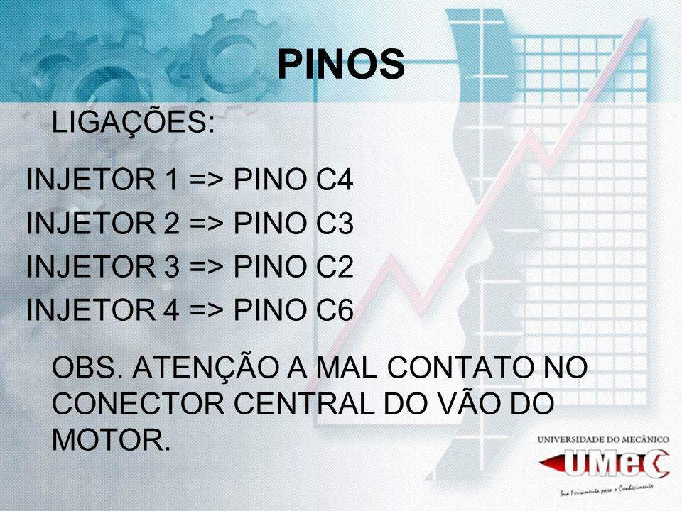PINOS LIGAÇÕES: INJETOR 1 => PINO C4 INJETOR 2 => PINO C3 INJETOR 3 => PINO C2 INJETOR 4 => PINO C6 OBS. ATENÇÃO A MAL CONTATO NO CONECTOR CENTRAL DO