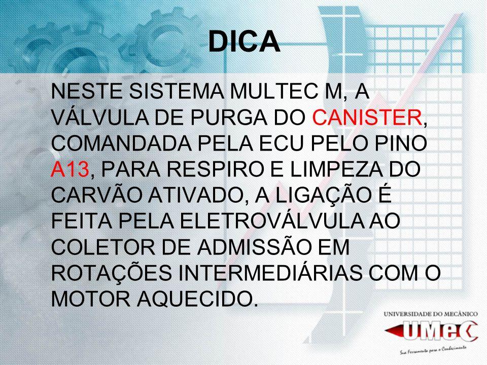 DICA NESTE SISTEMA MULTEC M, A VÁLVULA DE PURGA DO CANISTER, COMANDADA PELA ECU PELO PINO A13, PARA RESPIRO E LIMPEZA DO CARVÃO ATIVADO, A LIGAÇÃO É F