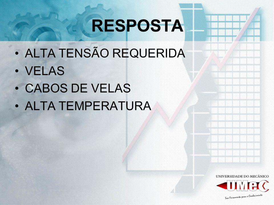 RESPOSTA ALTA TENSÃO REQUERIDA VELAS CABOS DE VELAS ALTA TEMPERATURA