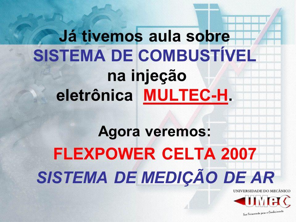 Já tivemos aula sobre SISTEMA DE COMBUSTÍVEL na injeção eletrônica MULTEC-H. Agora veremos: FLEXPOWER CELTA 2007 SISTEMA DE MEDIÇÃO DE AR
