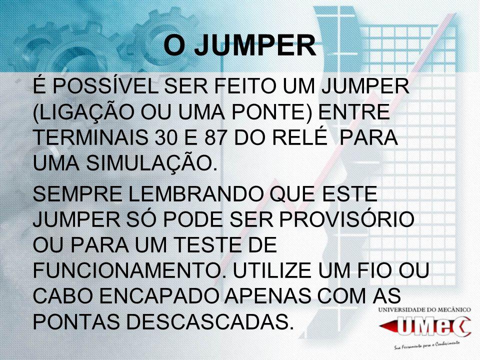 O JUMPER É POSSÍVEL SER FEITO UM JUMPER (LIGAÇÃO OU UMA PONTE) ENTRE TERMINAIS 30 E 87 DO RELÉ PARA UMA SIMULAÇÃO. SEMPRE LEMBRANDO QUE ESTE JUMPER SÓ