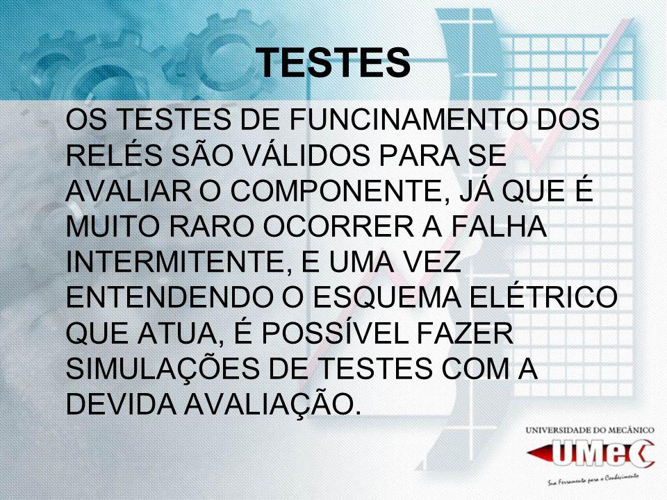 TESTES OS TESTES DE FUNCINAMENTO DOS RELÉS SÃO VÁLIDOS PARA SE AVALIAR O COMPONENTE, JÁ QUE É MUITO RARO OCORRER A FALHA INTERMITENTE, E UMA VEZ ENTEN
