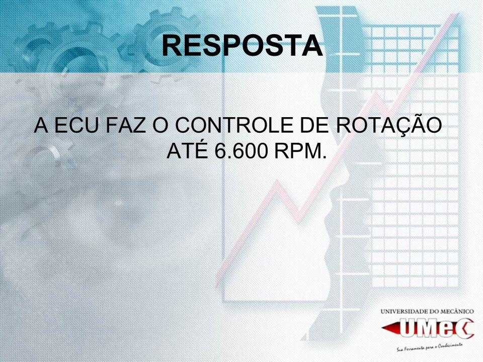 RESPOSTA A ECU FAZ O CONTROLE DE ROTAÇÃO ATÉ 6.600 RPM.
