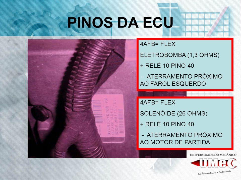 PINOS DA ECU 4AFB= FLEX ELETROBOMBA (1,3 OHMS) + RELÉ 10 PINO 40 - ATERRAMENTO PRÓXIMO AO FAROL ESQUERDO 4AFB= FLEX SOLENÓIDE (26 OHMS) + RELÉ 10 PINO
