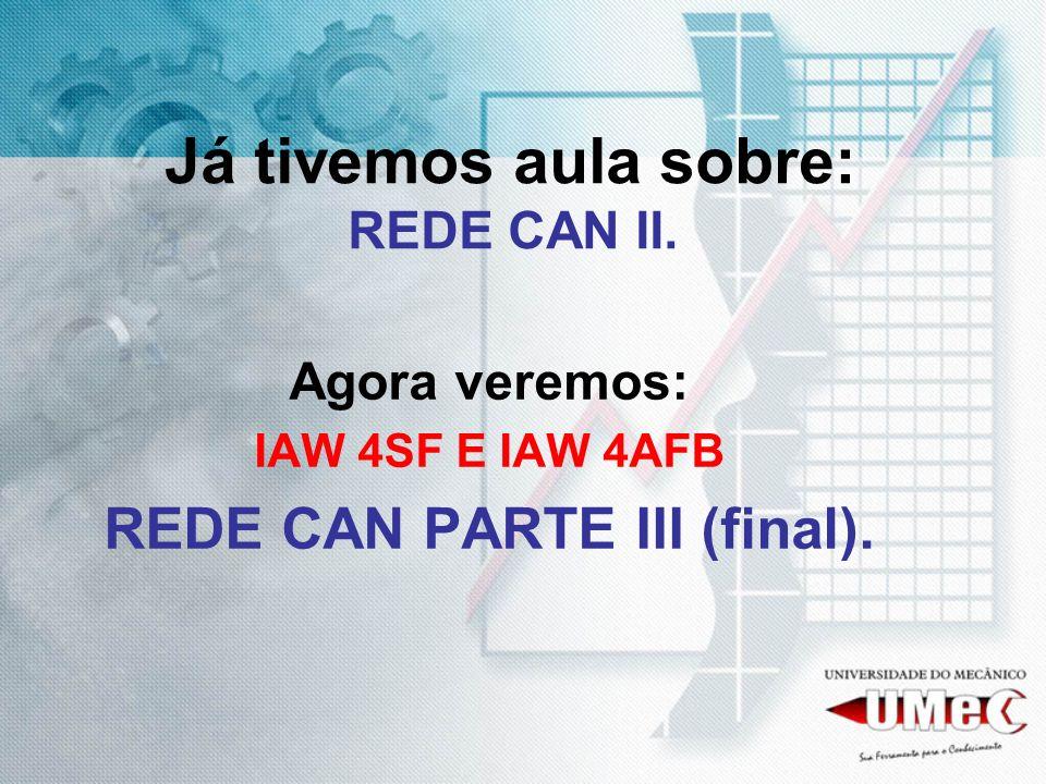 Já tivemos aula sobre: REDE CAN II. Agora veremos: IAW 4SF E IAW 4AFB REDE CAN PARTE III (final).