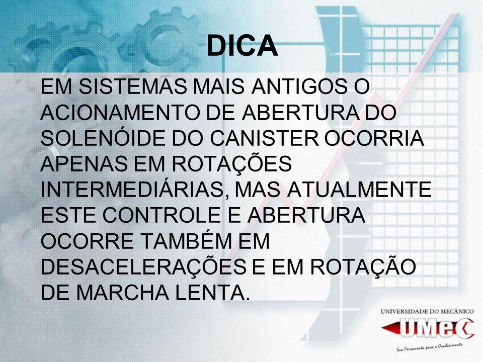 DICA EM SISTEMAS MAIS ANTIGOS O ACIONAMENTO DE ABERTURA DO SOLENÓIDE DO CANISTER OCORRIA APENAS EM ROTAÇÕES INTERMEDIÁRIAS, MAS ATUALMENTE ESTE CONTROLE E ABERTURA OCORRE TAMBÉM EM DESACELERAÇÕES E EM ROTAÇÃO DE MARCHA LENTA.