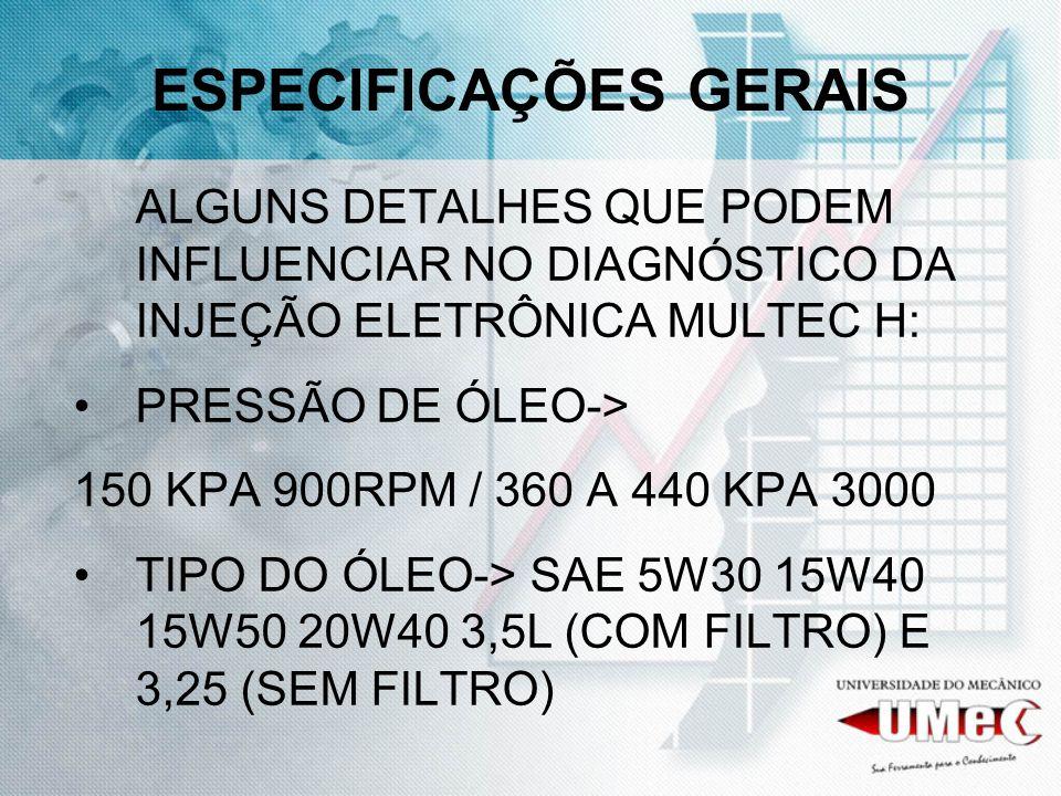 ESPECIFICAÇÕES GERAIS ALGUNS DETALHES QUE PODEM INFLUENCIAR NO DIAGNÓSTICO DA INJEÇÃO ELETRÔNICA MULTEC H: PRESSÃO DE ÓLEO-> 150 KPA 900RPM / 360 A 44
