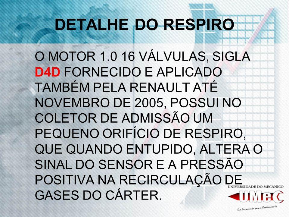 DETALHE DO RESPIRO O MOTOR 1.0 16 VÁLVULAS, SIGLA D4D FORNECIDO E APLICADO TAMBÉM PELA RENAULT ATÉ NOVEMBRO DE 2005, POSSUI NO COLETOR DE ADMISSÃO UM