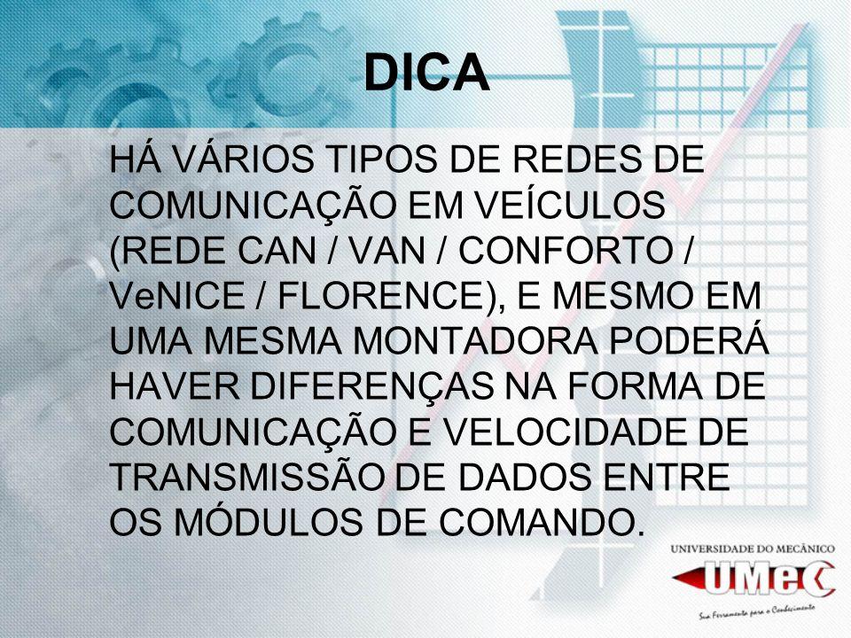 DICA HÁ VÁRIOS TIPOS DE REDES DE COMUNICAÇÃO EM VEÍCULOS (REDE CAN / VAN / CONFORTO / VeNICE / FLORENCE), E MESMO EM UMA MESMA MONTADORA PODERÁ HAVER
