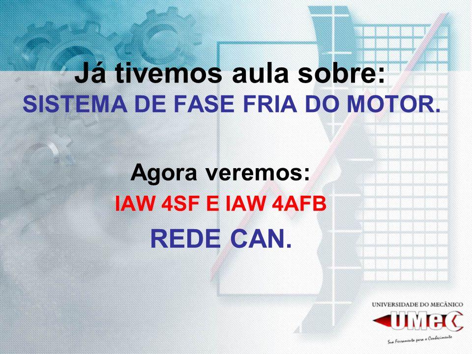 Já tivemos aula sobre: SISTEMA DE FASE FRIA DO MOTOR. Agora veremos: IAW 4SF E IAW 4AFB REDE CAN.