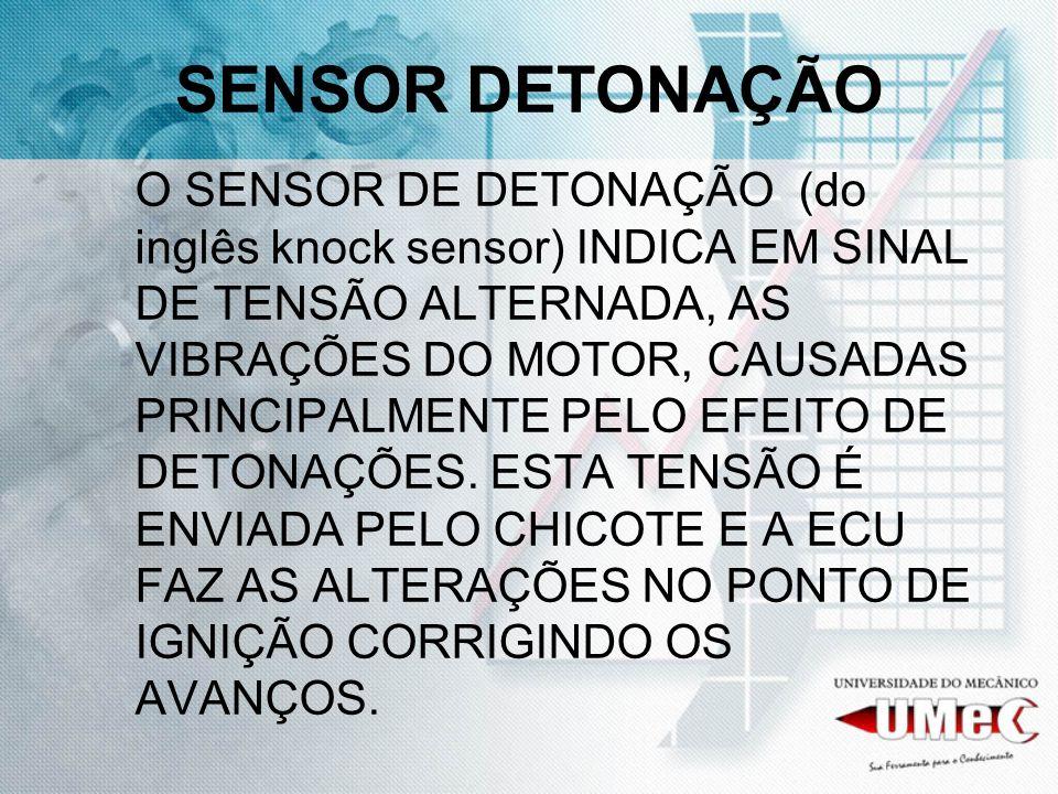 SENSOR DETONAÇÃO O SENSOR DE DETONAÇÃO (do inglês knock sensor) INDICA EM SINAL DE TENSÃO ALTERNADA, AS VIBRAÇÕES DO MOTOR, CAUSADAS PRINCIPALMENTE PELO EFEITO DE DETONAÇÕES.