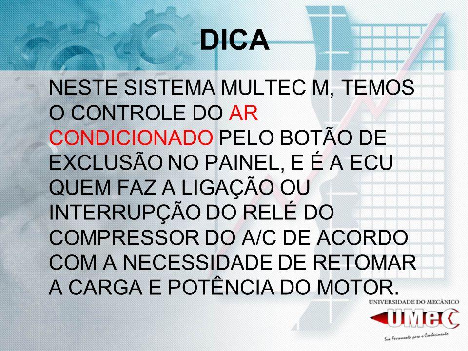 DICA NESTE SISTEMA MULTEC M, TEMOS O CONTROLE DO AR CONDICIONADO PELO BOTÃO DE EXCLUSÃO NO PAINEL, E É A ECU QUEM FAZ A LIGAÇÃO OU INTERRUPÇÃO DO RELÉ DO COMPRESSOR DO A/C DE ACORDO COM A NECESSIDADE DE RETOMAR A CARGA E POTÊNCIA DO MOTOR.