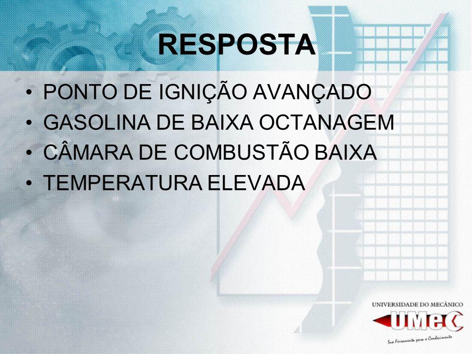 RESPOSTA PONTO DE IGNIÇÃO AVANÇADO GASOLINA DE BAIXA OCTANAGEM CÂMARA DE COMBUSTÃO BAIXA TEMPERATURA ELEVADA