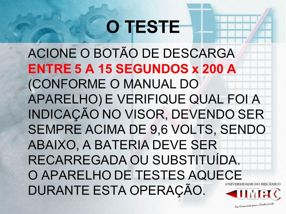 O TESTE ACIONE O BOTÃO DE DESCARGA ENTRE 5 A 15 SEGUNDOS x 200 A (CONFORME O MANUAL DO APARELHO) E VERIFIQUE QUAL FOI A INDICAÇÃO NO VISOR, DEVENDO SER SEMPRE ACIMA DE 9,6 VOLTS, SENDO ABAIXO, A BATERIA DEVE SER RECARREGADA OU SUBSTITUÍDA.
