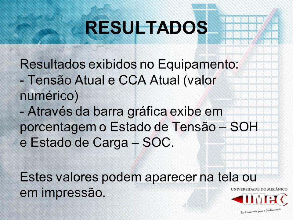 RESULTADOS Resultados exibidos no Equipamento: - Tensão Atual e CCA Atual (valor numérico) - Através da barra gráfica exibe em porcentagem o Estado de