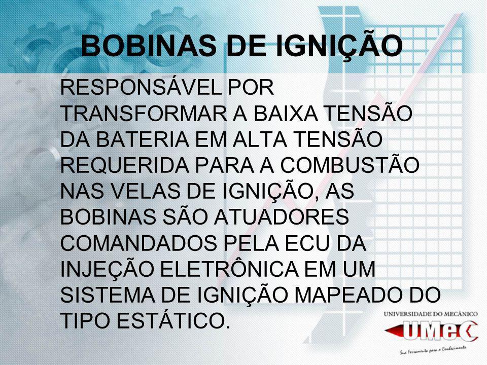 BOBINAS DE IGNIÇÃO RESPONSÁVEL POR TRANSFORMAR A BAIXA TENSÃO DA BATERIA EM ALTA TENSÃO REQUERIDA PARA A COMBUSTÃO NAS VELAS DE IGNIÇÃO, AS BOBINAS SÃ