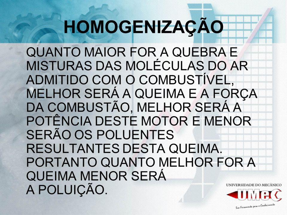 HOMOGENIZAÇÃO QUANTO MAIOR FOR A QUEBRA E MISTURAS DAS MOLÉCULAS DO AR ADMITIDO COM O COMBUSTÍVEL, MELHOR SERÁ A QUEIMA E A FORÇA DA COMBUSTÃO, MELHOR