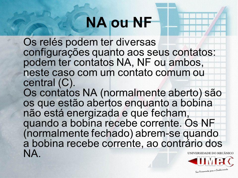 NA ou NF Os relés podem ter diversas configurações quanto aos seus contatos: podem ter contatos NA, NF ou ambos, neste caso com um contato comum ou ce