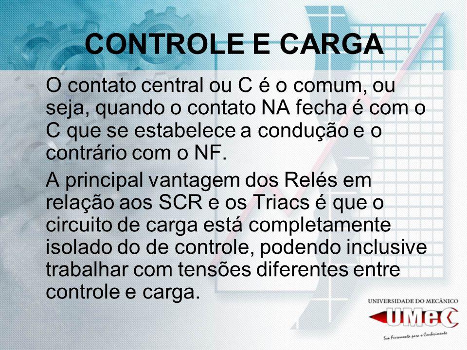 CONTROLE E CARGA O contato central ou C é o comum, ou seja, quando o contato NA fecha é com o C que se estabelece a condução e o contrário com o NF. A