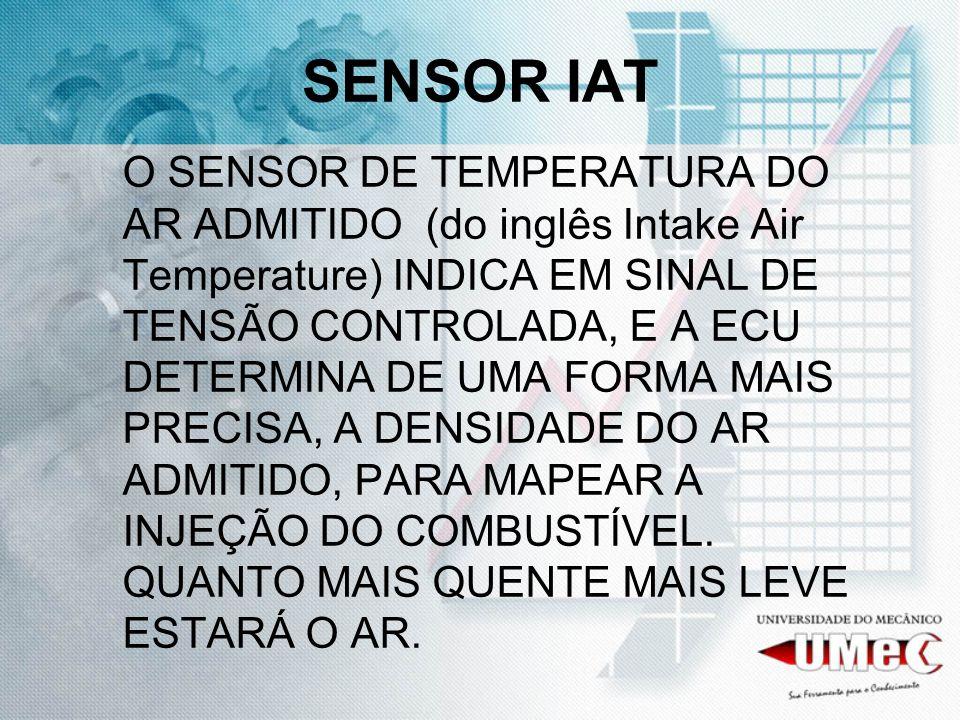 SENSOR IAT O SENSOR DE TEMPERATURA DO AR ADMITIDO (do inglês Intake Air Temperature) INDICA EM SINAL DE TENSÃO CONTROLADA, E A ECU DETERMINA DE UMA FO