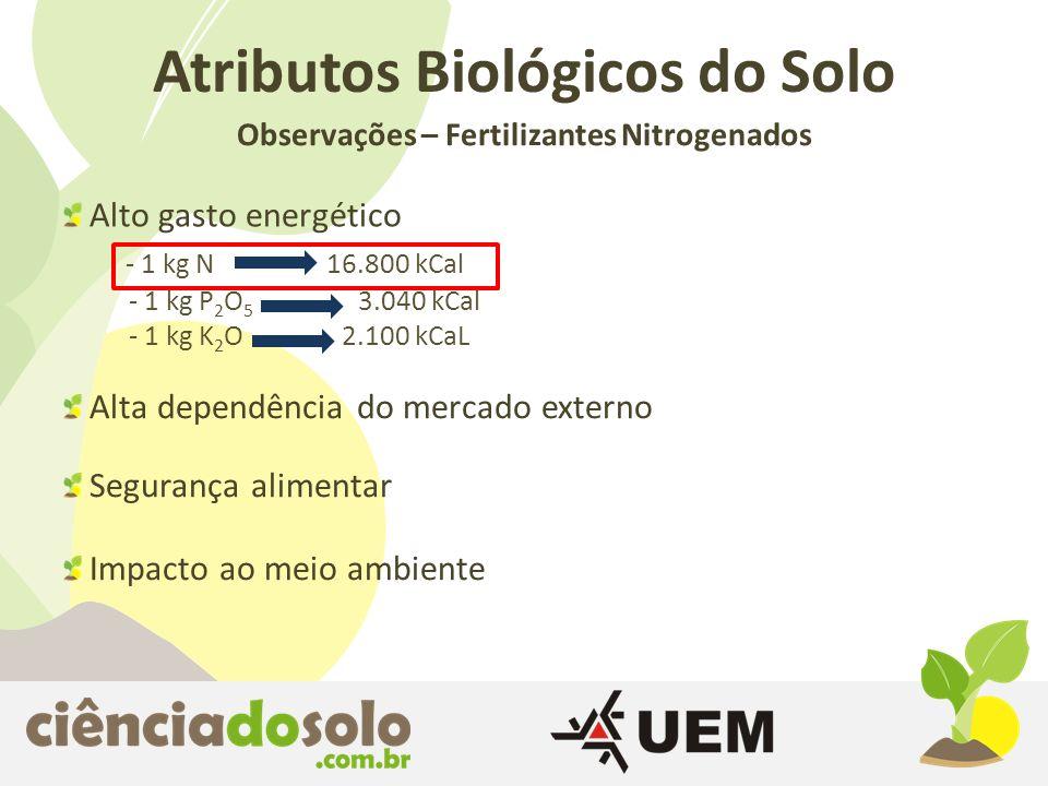 Observações – Fertilizantes Nitrogenados Atributos Biológicos do Solo Alto gasto energético - 1 kg N 16.800 kCal - 1 kg P 2 O 5 3.040 kCal - 1 kg K 2