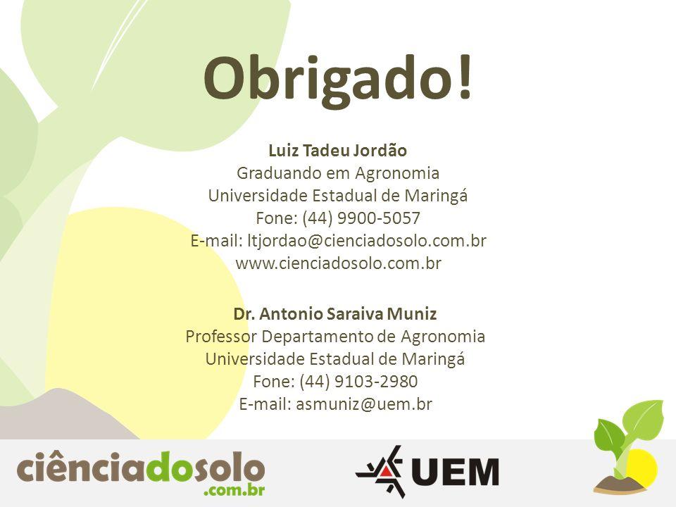Obrigado! Luiz Tadeu Jordão Graduando em Agronomia Universidade Estadual de Maringá Fone: (44) 9900-5057 E-mail: ltjordao@cienciadosolo.com.br www.cie
