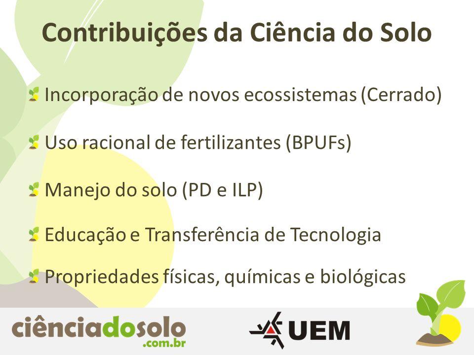 Incorporação de novos ecossistemas (Cerrado) Contribuições da Ciência do Solo Uso racional de fertilizantes (BPUFs) Manejo do solo (PD e ILP) Educação