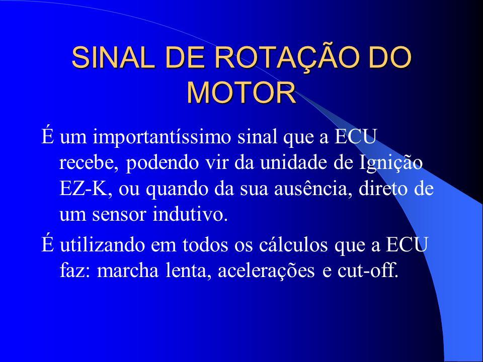SINAL DE ROTAÇÃO DO MOTOR É um importantíssimo sinal que a ECU recebe, podendo vir da unidade de Ignição EZ-K, ou quando da sua ausência, direto de um