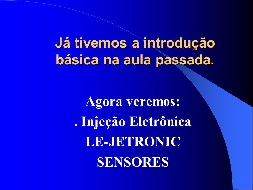 Já tivemos a introdução básica na aula passada. Agora veremos:. Injeção Eletrônica LE-JETRONIC SENSORES