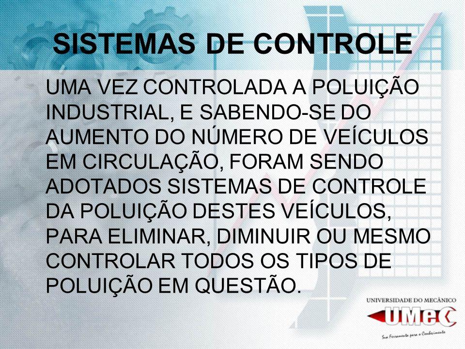 SISTEMAS DE CONTROLE UMA VEZ CONTROLADA A POLUIÇÃO INDUSTRIAL, E SABENDO-SE DO AUMENTO DO NÚMERO DE VEÍCULOS EM CIRCULAÇÃO, FORAM SENDO ADOTADOS SISTEMAS DE CONTROLE DA POLUIÇÃO DESTES VEÍCULOS, PARA ELIMINAR, DIMINUIR OU MESMO CONTROLAR TODOS OS TIPOS DE POLUIÇÃO EM QUESTÃO.