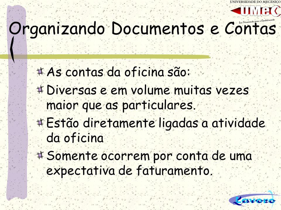 Organizando Documentos e Contas As contas da oficina são: Diversas e em volume muitas vezes maior que as particulares. Estão diretamente ligadas a ati