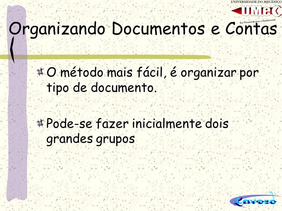 Organizando Documentos e Contas Grupos de Despesas: Gastos para manter o negócio, como compra de material, peças, insumos, equipamentos, acessórios, tributos, etc...