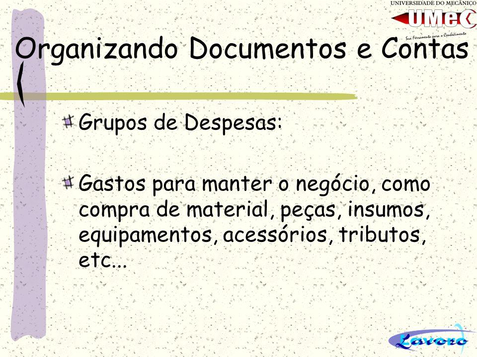 Organizando Documentos e Contas Grupos de Despesas: Gastos para manter o negócio, como compra de material, peças, insumos, equipamentos, acessórios, t