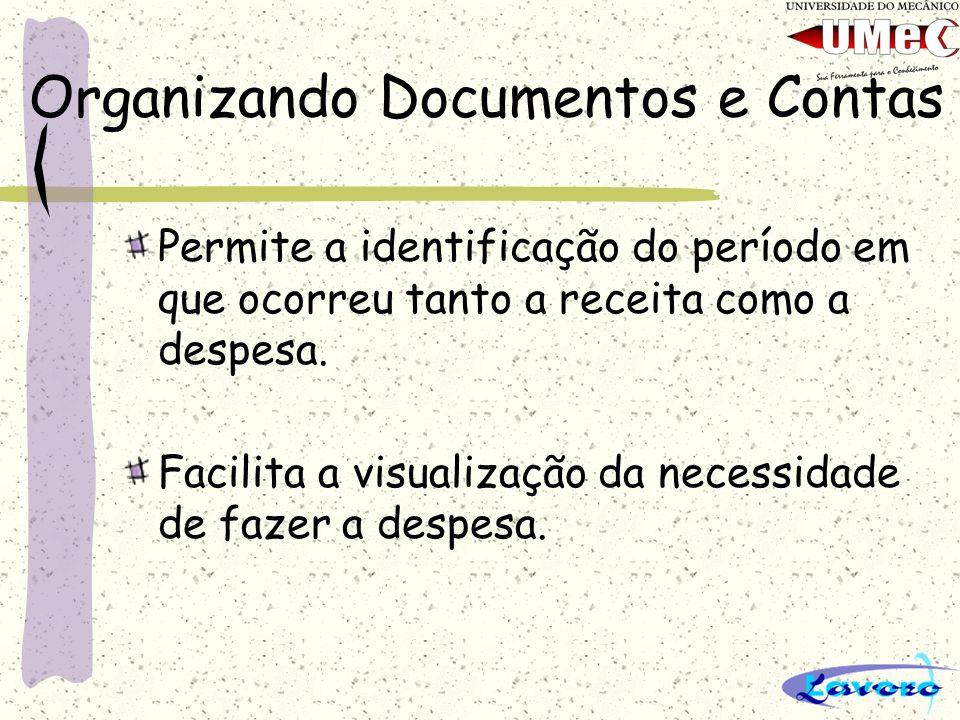 Organizando Documentos e Contas Permite a identificação do período em que ocorreu tanto a receita como a despesa. Facilita a visualização da necessida