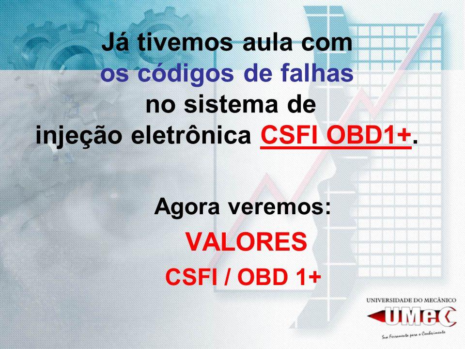 Já tivemos aula com os códigos de falhas no sistema de injeção eletrônica CSFI OBD1+. Agora veremos: VALORES CSFI / OBD 1+