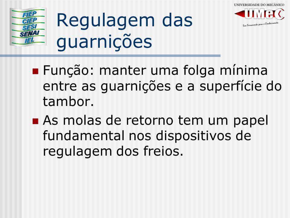 Regulagem das guarnições Função: manter uma folga mínima entre as guarnições e a superfície do tambor.