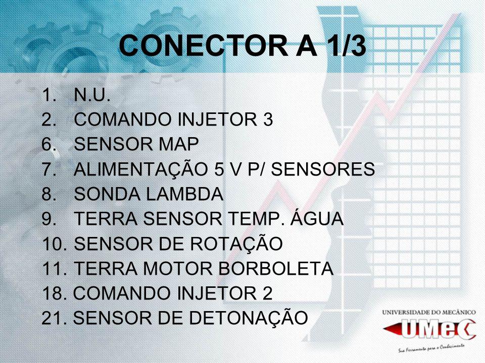 CONECTOR A 1/3 1.N.U. 2.COMANDO INJETOR 3 6.SENSOR MAP 7.ALIMENTAÇÃO 5 V P/ SENSORES 8.SONDA LAMBDA 9.TERRA SENSOR TEMP. ÁGUA 10.SENSOR DE ROTAÇÃO 11.