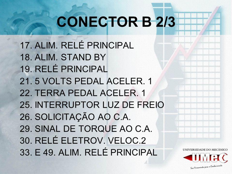 CONECTOR B 2/3 17. ALIM. RELÉ PRINCIPAL 18. ALIM. STAND BY 19. RELÉ PRINCIPAL 21. 5 VOLTS PEDAL ACELER. 1 22. TERRA PEDAL ACELER. 1 25. INTERRUPTOR LU
