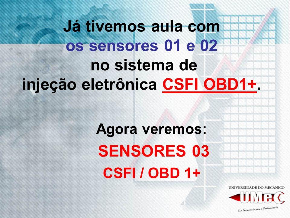 Já tivemos aula com os sensores 01 e 02 no sistema de injeção eletrônica CSFI OBD1+. Agora veremos: SENSORES 03 CSFI / OBD 1+