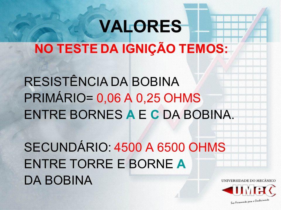 VALORES NO TESTE DA IGNIÇÃO TEMOS: RESISTÊNCIA DA BOBINA PRIMÁRIO= 0,06 A 0,25 OHMS ENTRE BORNES A E C DA BOBINA. SECUNDÁRIO: 4500 A 6500 OHMS ENTRE T