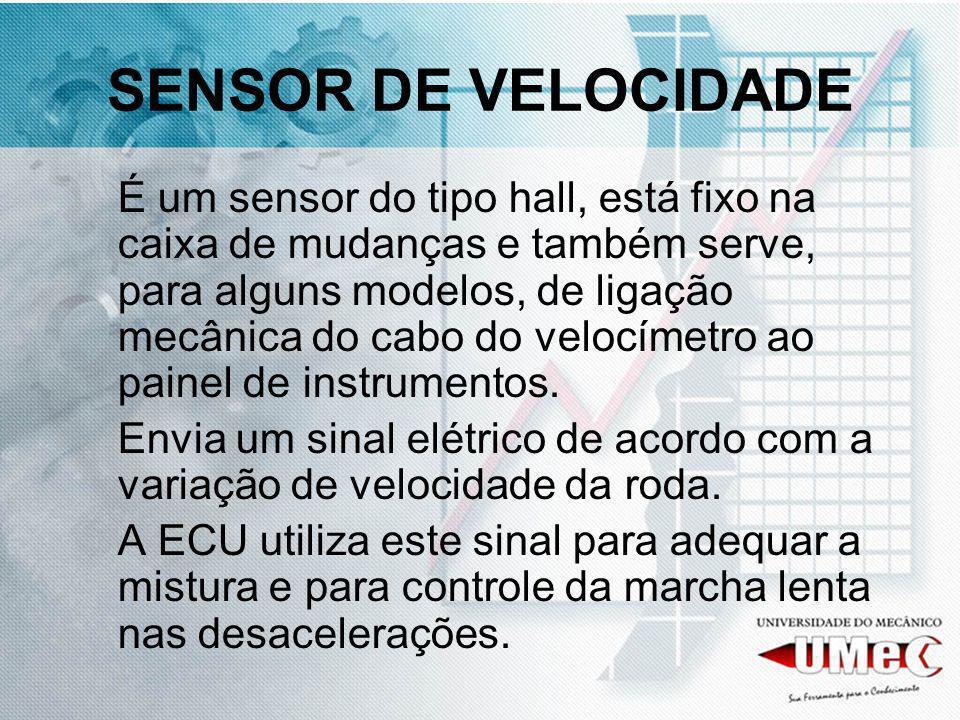 SENSOR DE VELOCIDADE É um sensor do tipo hall, está fixo na caixa de mudanças e também serve, para alguns modelos, de ligação mecânica do cabo do velo
