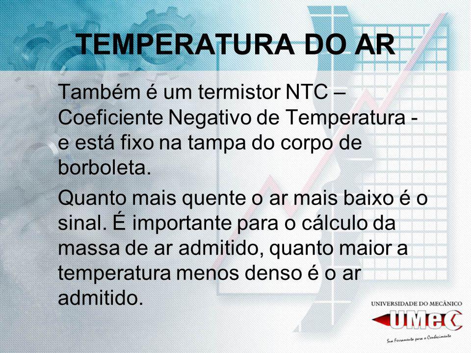 TEMPERATURA DO AR Também é um termistor NTC – Coeficiente Negativo de Temperatura - e está fixo na tampa do corpo de borboleta. Quanto mais quente o a