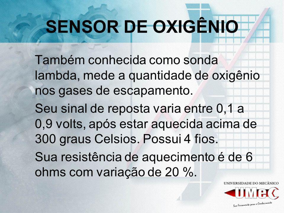 SENSOR DE OXIGÊNIO Também conhecida como sonda lambda, mede a quantidade de oxigênio nos gases de escapamento. Seu sinal de reposta varia entre 0,1 a